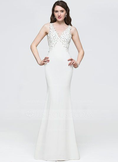 8c5fbb9af24  US  146.69  Trumpet Mermaid V-neck Floor-Length Jersey Prom Dress With  Beading Sequins - JJsHouse
