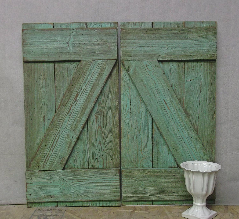 Shabby Reclaimed Wood Aqua Painted Farmhouse Shutters  Chic Sh601
