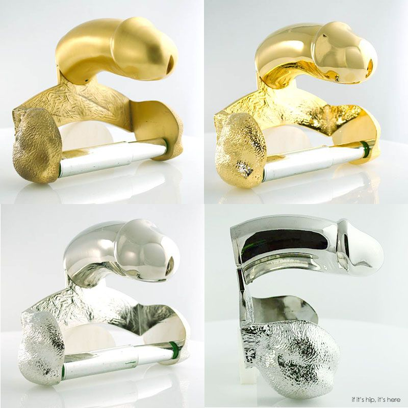 Penis Cast Metal Toilet Paper Holders Httpwww - Gold flake toilet paper