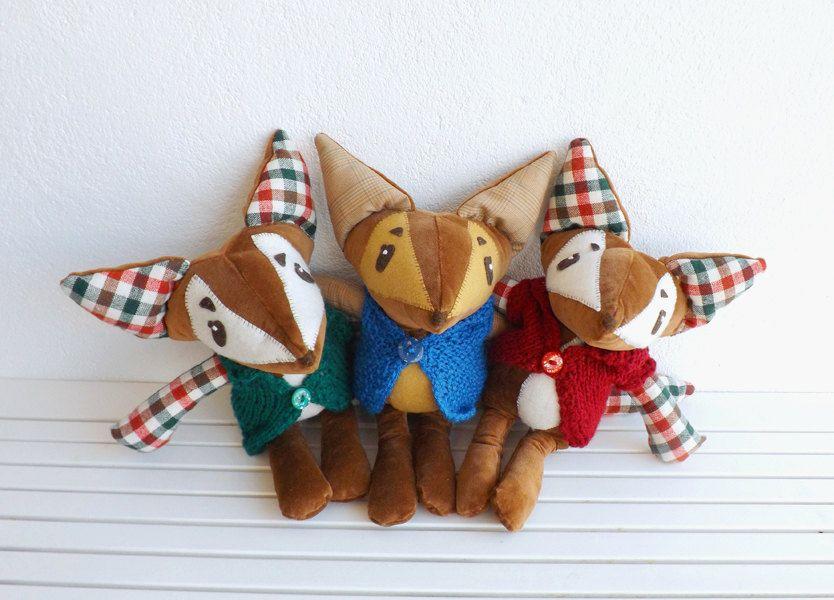 Simon - Handmade fox soft toy. OOAK plush doll. Woodland nursery decor. Forest friends children's room decor. Gender neutral gift for kids. (24.00 EUR) by jesuismimi http://ift.tt/1PwPsBZ
