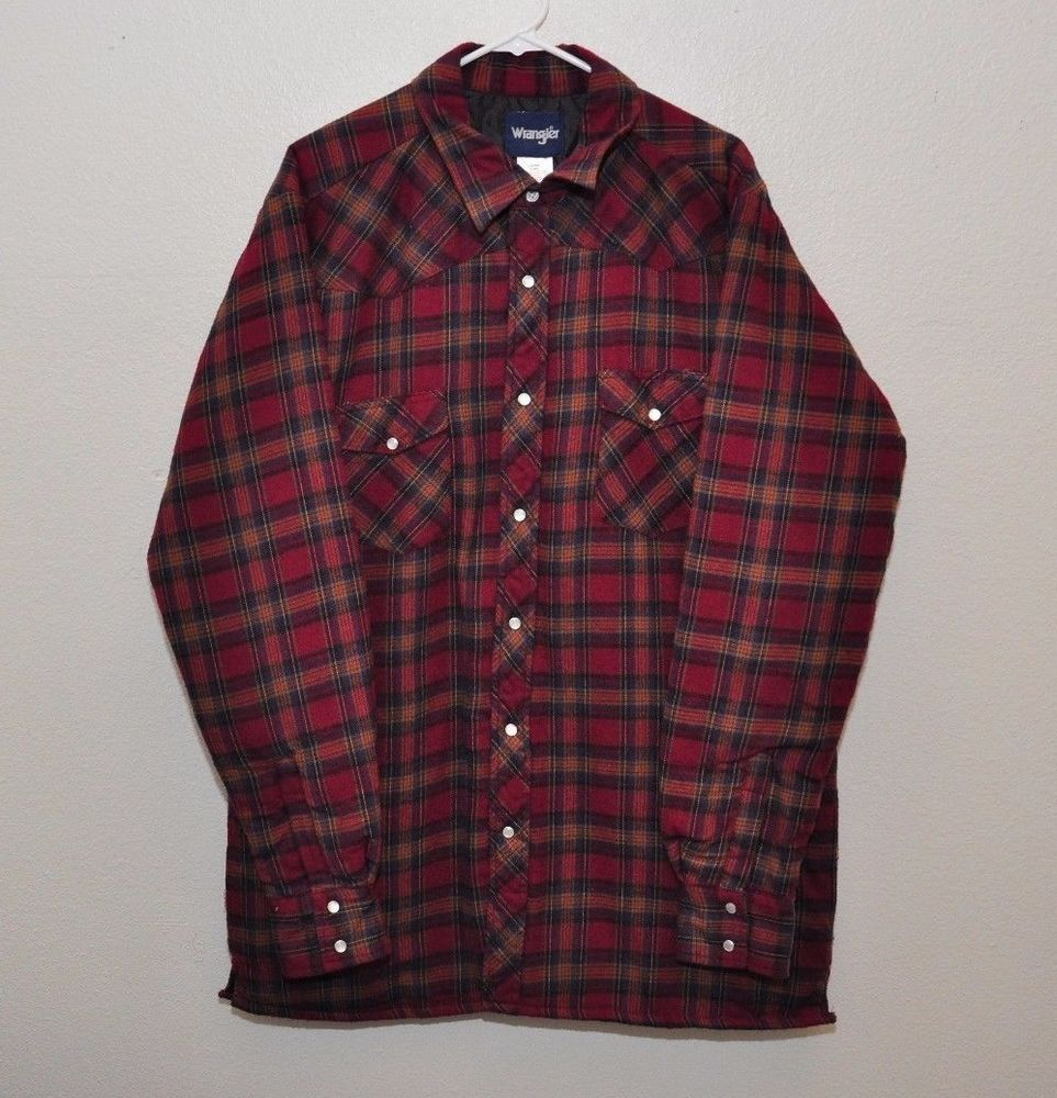 c57b31472fa4 Wrangler Western Quilted Lined Flannel Shirt Jacket Pearl Snap Red Plaid  size L  Wrangler  ShirtJacket