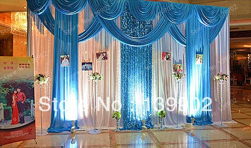 Stand Directly From China D Tape Suppliers Event Services Stage Curtain Wedding Drape Pleated Backdrop With Swag Decorations