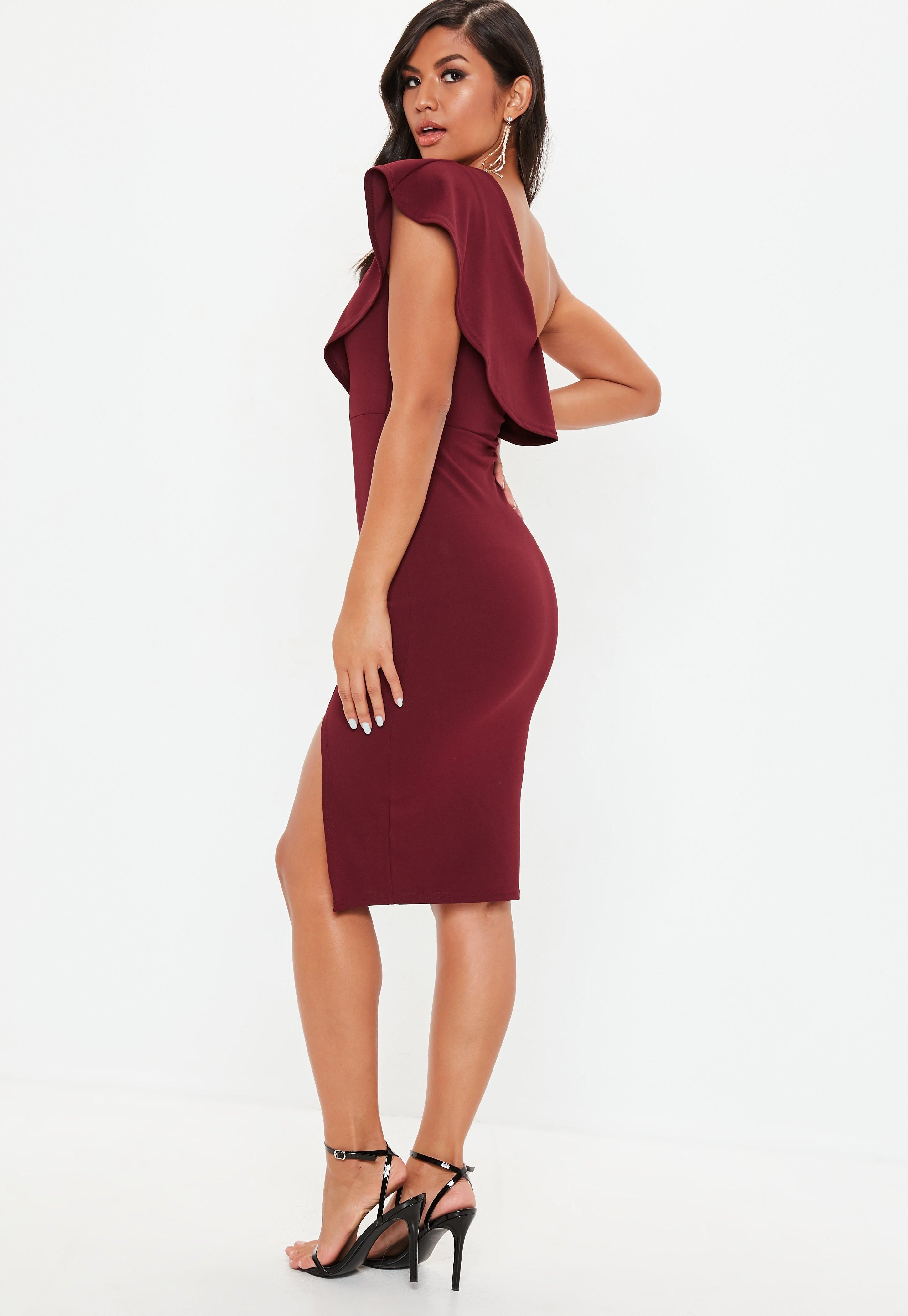 e535dfb1d2995 Burgundy Scuba One Shoulder Midi Dress Scuba