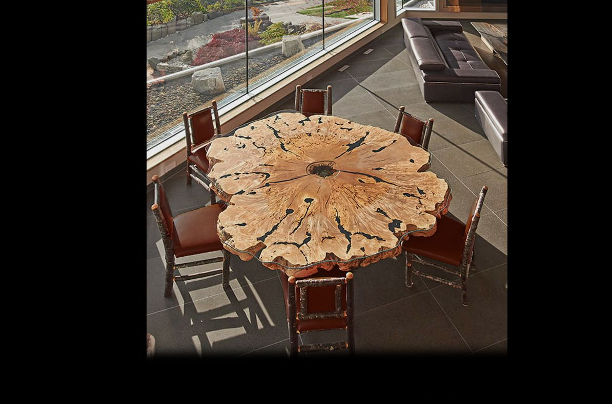 Elegant Small Dining Room Design Using Round Slab Reclaimed Wood Dining Table Along With Bam Live Edge Design Custom Wood Furniture Reclaimed Wood Dining Table