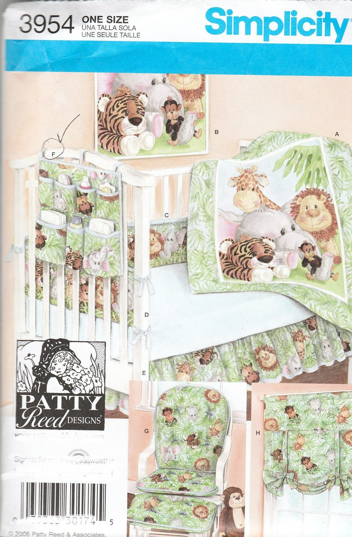 Baby Nursery Accessories Sewing Patterns Simplicity 3954 Quilt Wallhanging Crib Caddy Per Sheets More