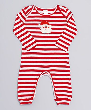 Look what I found on #zulily! White & Red Stripe Santa Playsuit - Infant by Truffles Ruffles #zulilyfinds
