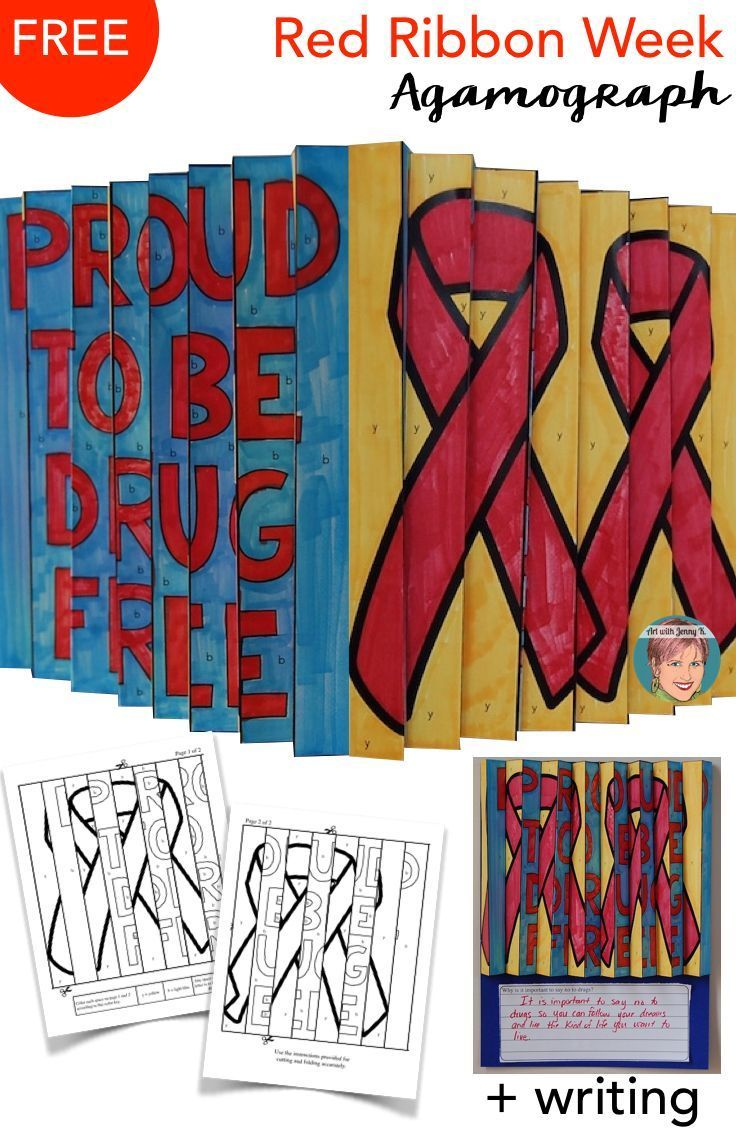 Free Handouts Instructions And How To Video For Teachers To Create This Unique Red Ribbon Week Red Ribbon Elementary Art [ 1128 x 736 Pixel ]