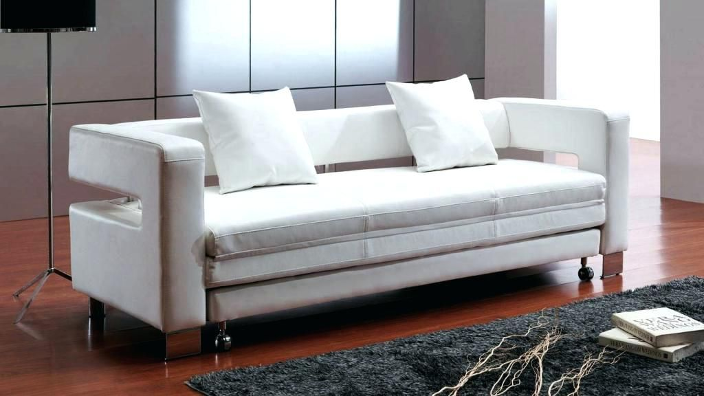 Witte Leren Bank Reinigen.Small Space Sleeper Sofa White Leather Sofa Bed Most