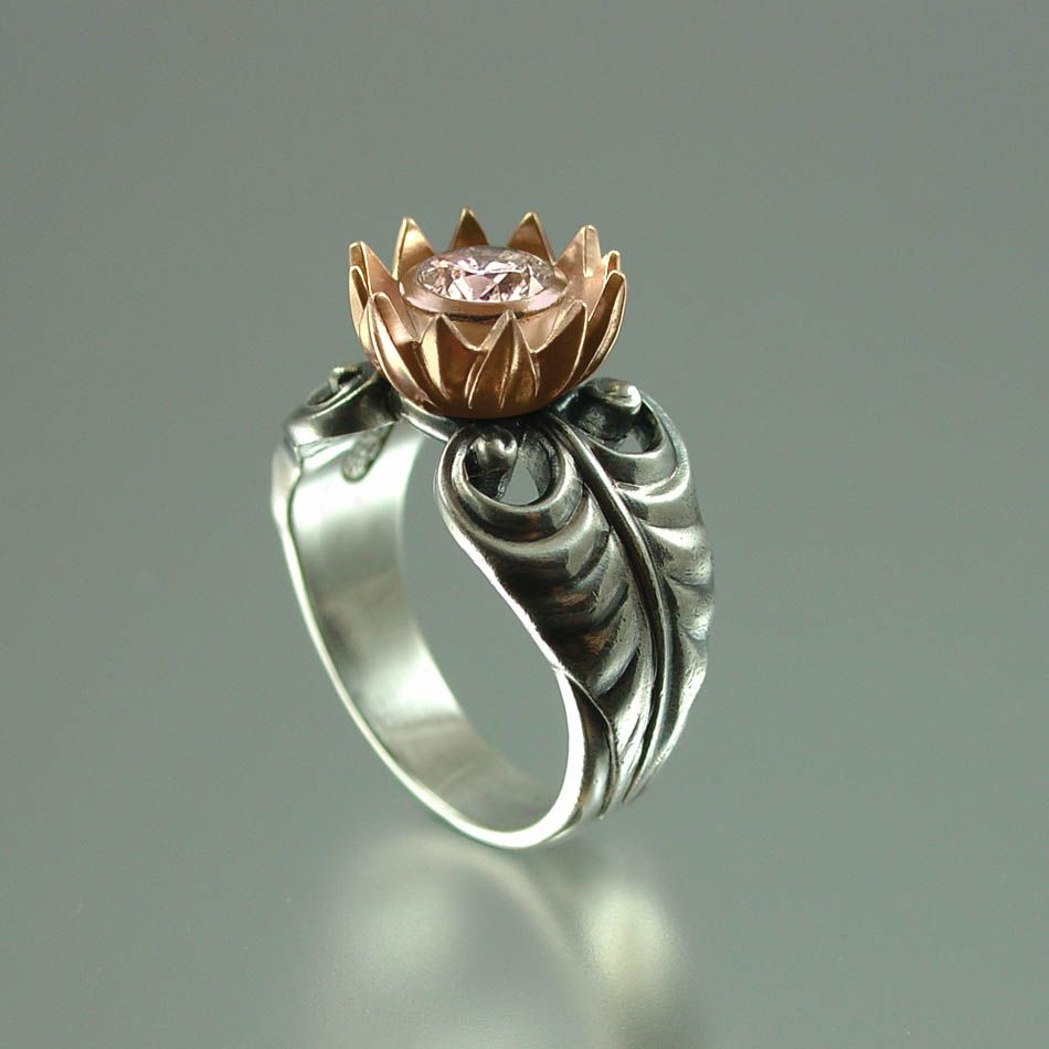 This fabulous ring represents a lotus flower custom made by winged