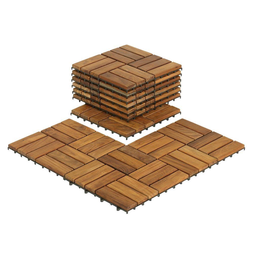 Bare decor ez floor interlocking flooring tiles in solid teak wood bare decor ez floor interlocking flooring tiles in solid teak wood set of 10 dailygadgetfo Images