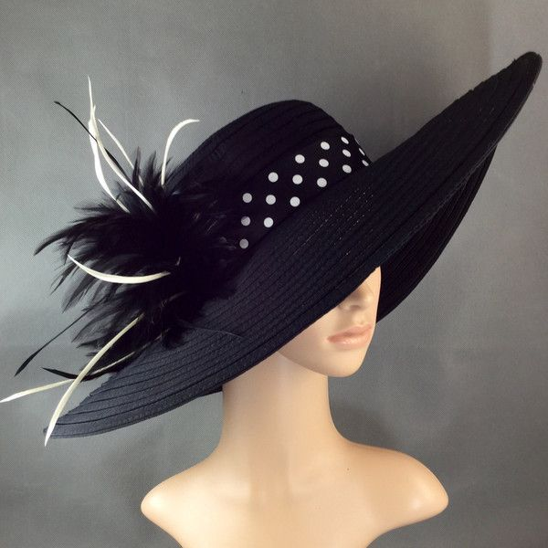 Black Derby Hat Kentucky Derby Hat With Polka Dot Hat Band Dress Hat 48 Liked On Polyvore Featuring Accesso Classy Hats Derby Hats Kentucky Derby Hats