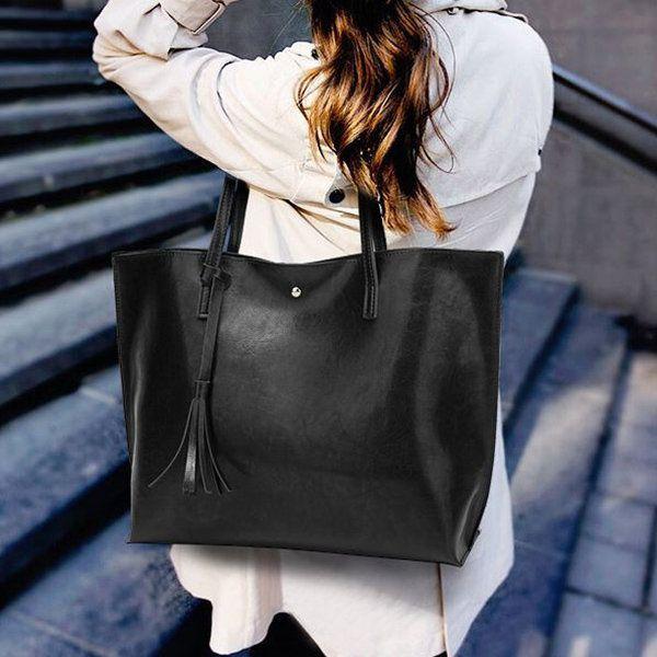 35a2b10a02ff New Fashion Oil Wax Women Casual Large Capacity PU Leather Handbag ...