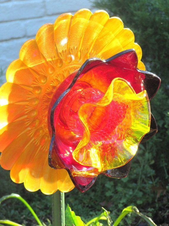 garden art garden gift glass plate flower by ADelicateTouch1