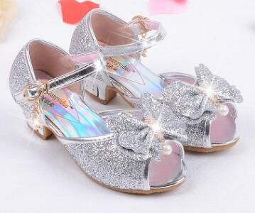 Mules Shoes Summer Princess Sandals Kids Girls Wedding Shoes High Heels  Leather Bowtie Shoes e68a16136a37