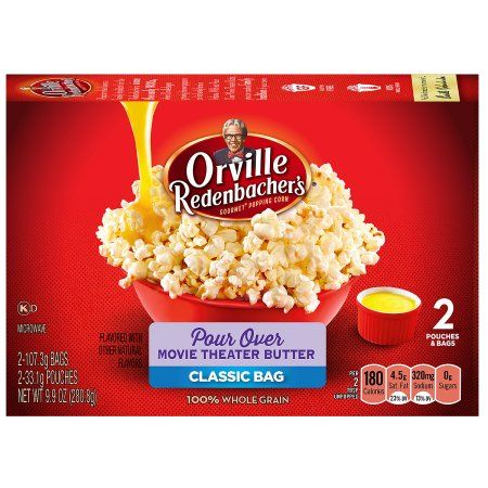 Orville Redenbacher S Movie Theater Butter Microwave Popcorn With Pour Over Butter 2 19 Oz 2 Ct Walmart Com Popcorn Recipes Popcorn Microwave Popcorn