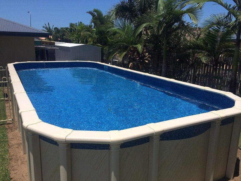 Rectangle Above Ground Pool perfect rectangle above ground pool lap with ladder steps and pump