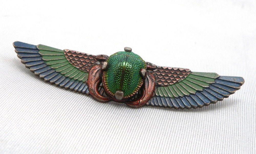 8671148ac0958 Vintage Egyptian Revival REAL SCARAB Beetle Brooch Pin Winged Wings ...