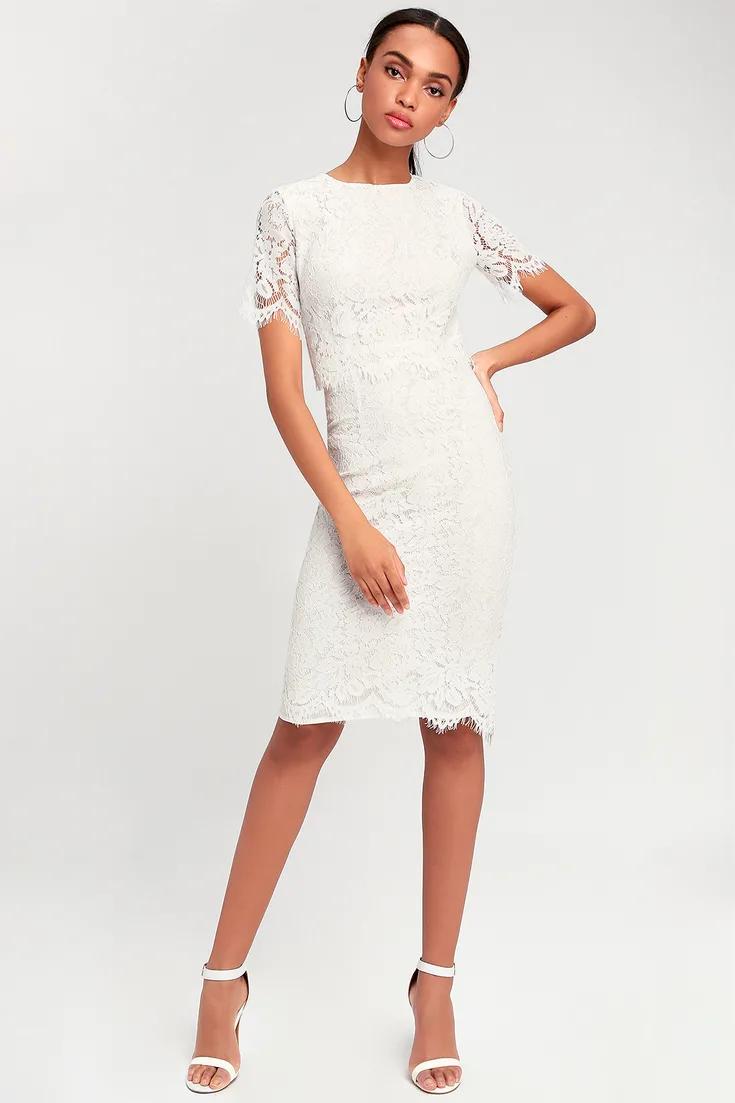 Devotion White Lace Short Sleeve Midi Dress In 2021 Midi Short Sleeve Dress Lace White Dress White Lace Midi Dress [ 1103 x 735 Pixel ]