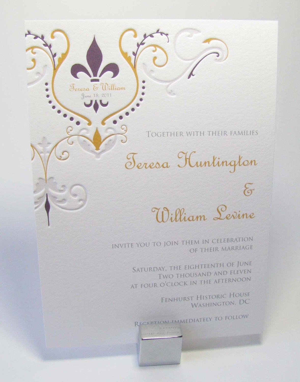 Pretty ;) Fleur de Lis Wedding Invitations by LetterpressLight on ...