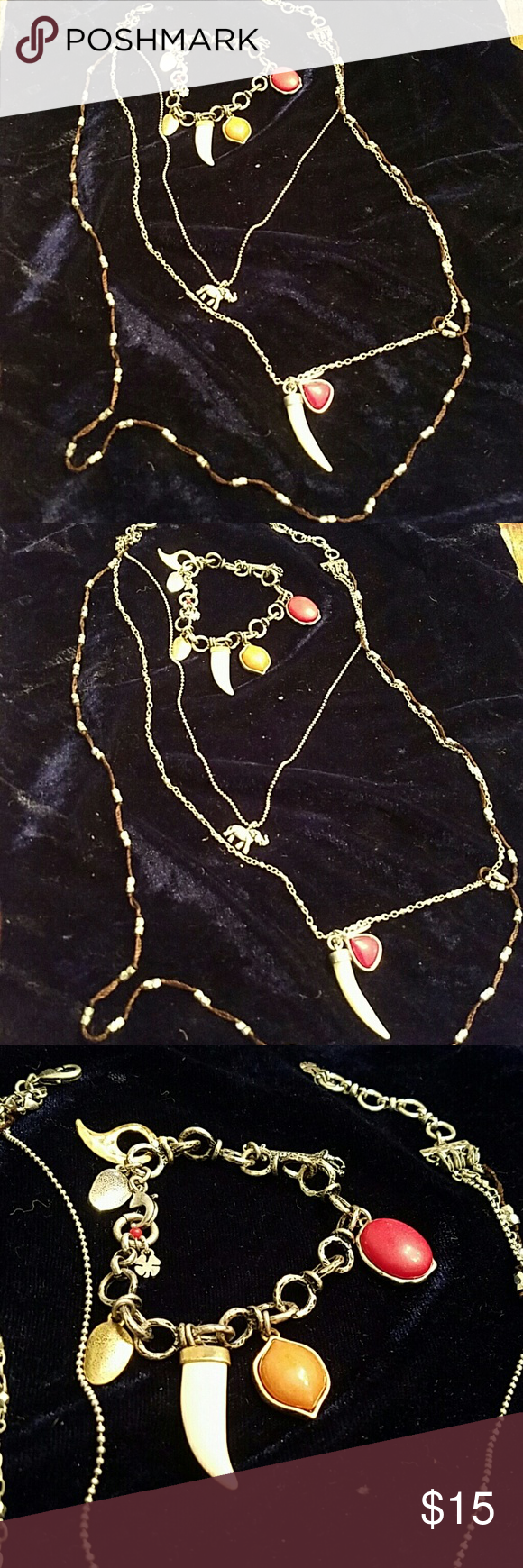 Lucky Brand Neclace and Bracelet set LUCKY BRAND NECKLACE ABD BRACELET SET.  SEE PHOTOS. NEXKLACE IS 3 LEVEL APX 20 INCHES. BRACELET APX 8 INCHES Jewelry Necklaces