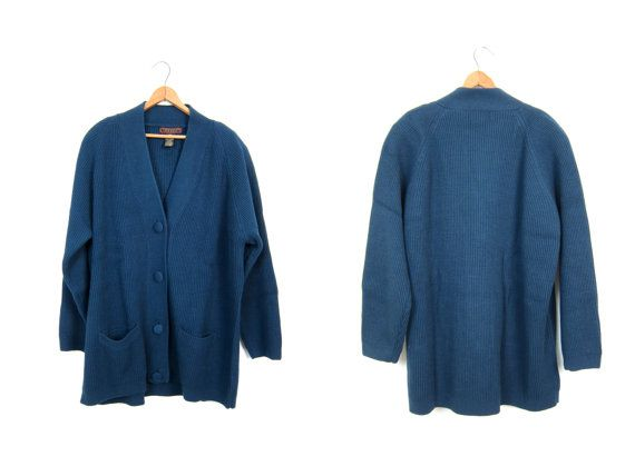 Vertical Rib Cardigan 90s Button Up Rib Sweater Oversized Navy ...