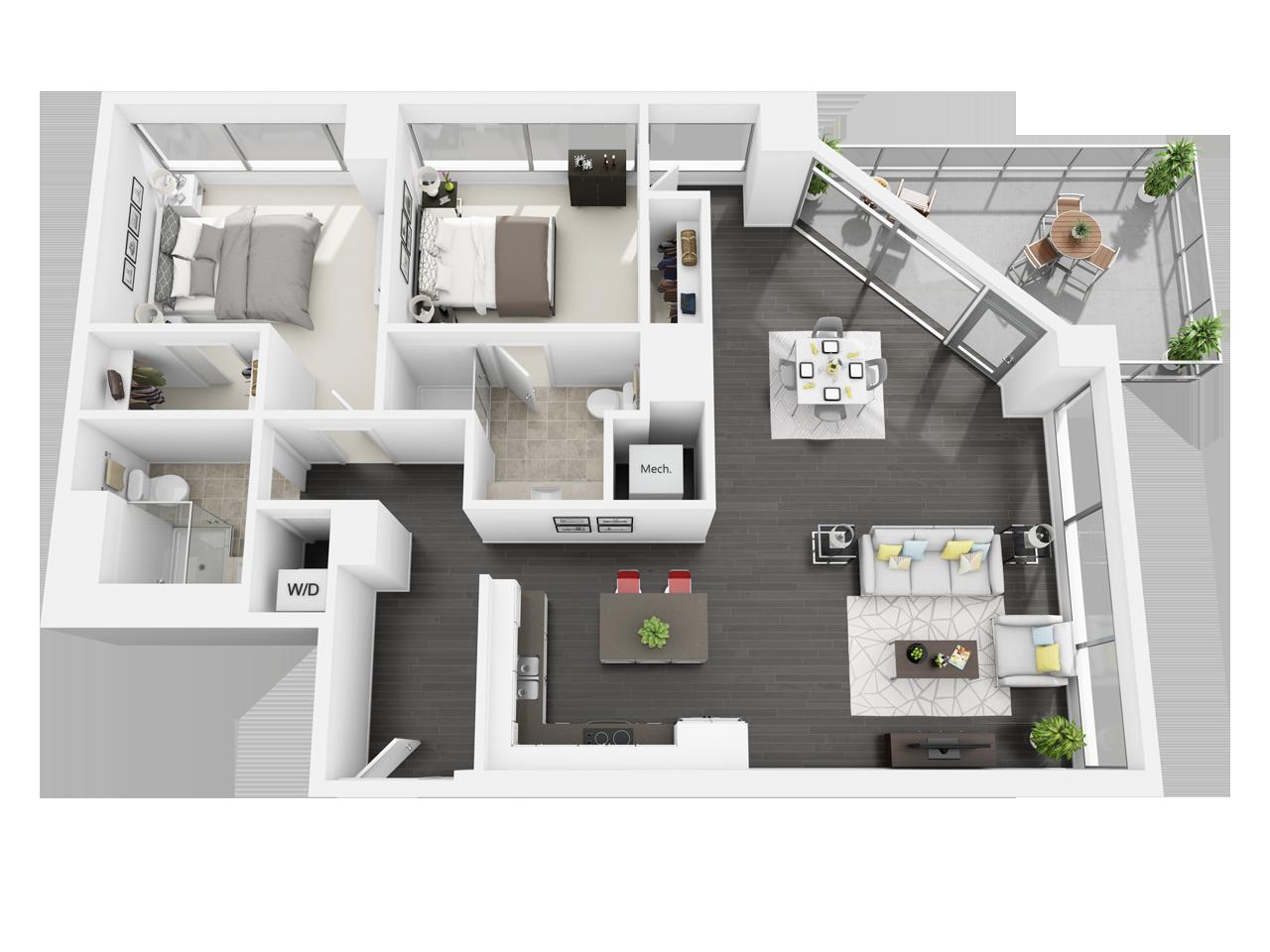 Plan De L Appartement Avec 2 Chambres Et 2 Salles De Bain En 2020 Plan De Maison Plans De Maisonnette Maison Sims