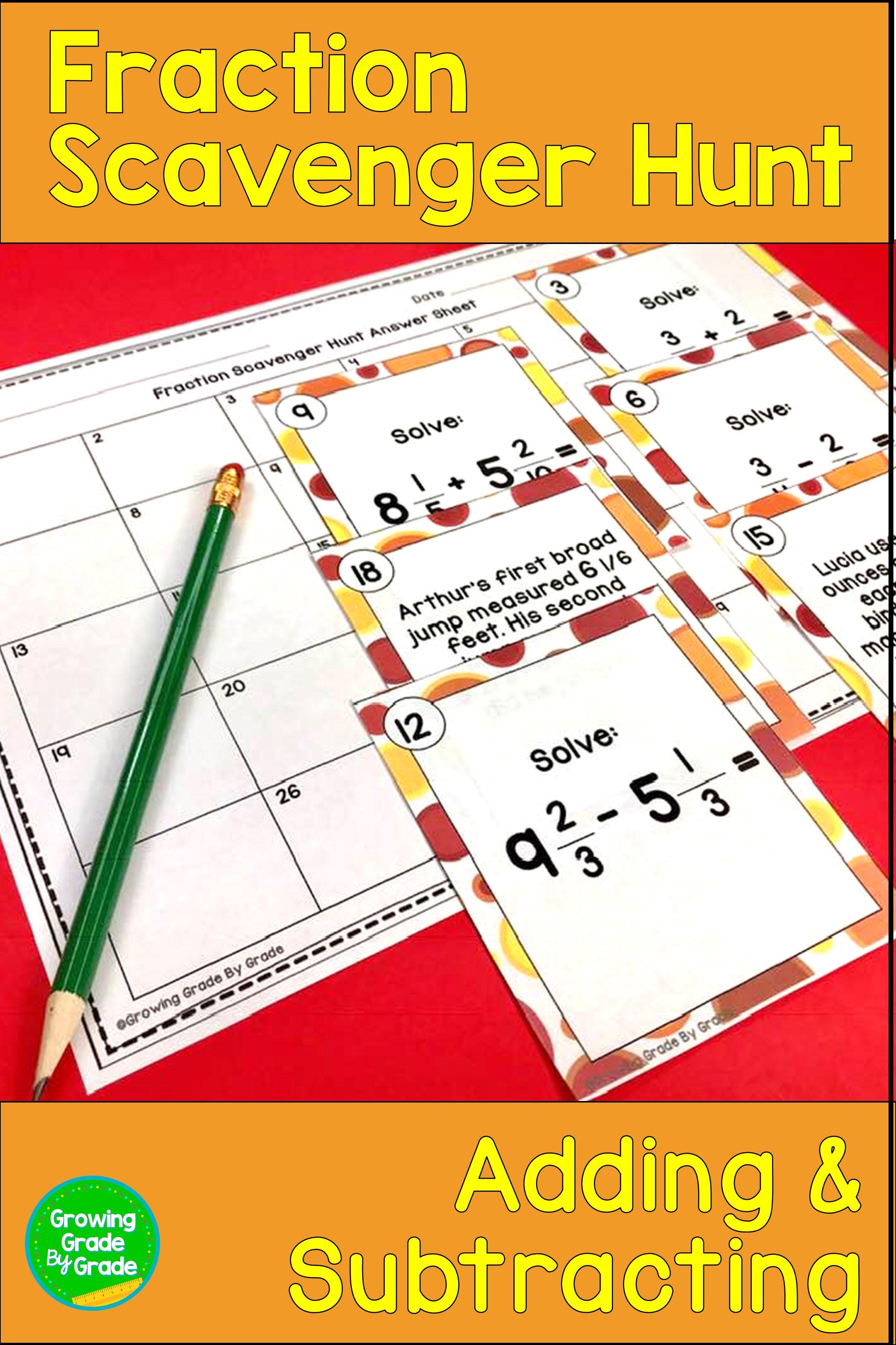 Fraction Task Cards Scavenger Hunt 5th Grade