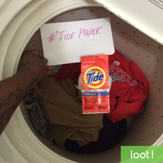 Take a photo with your Tide Detergent while doing laundry to earn cash with Loot App! #Loot #TidePower #LootApp http://lksn.se/loot