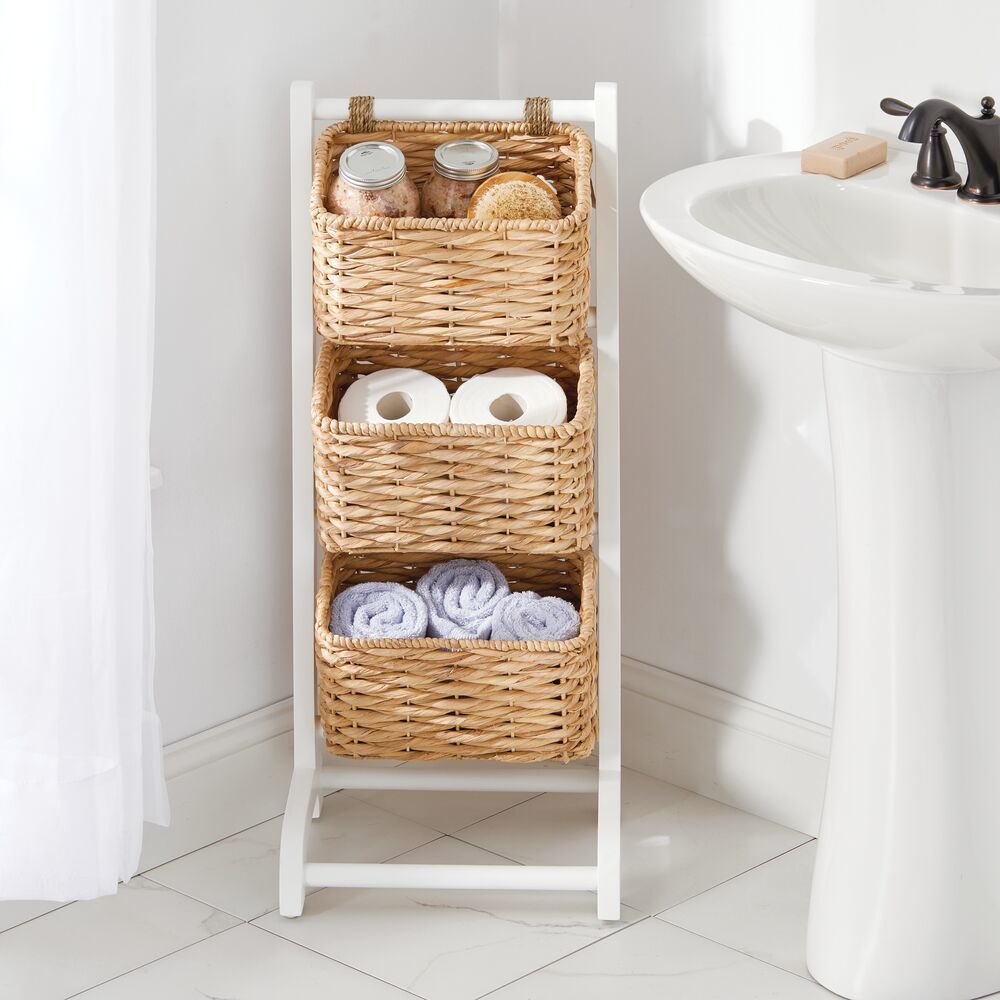 3 Tier Standing Storage Basket Stand In 2020 Bathroom Basket Storage Storage Baskets Tiered Basket Stand