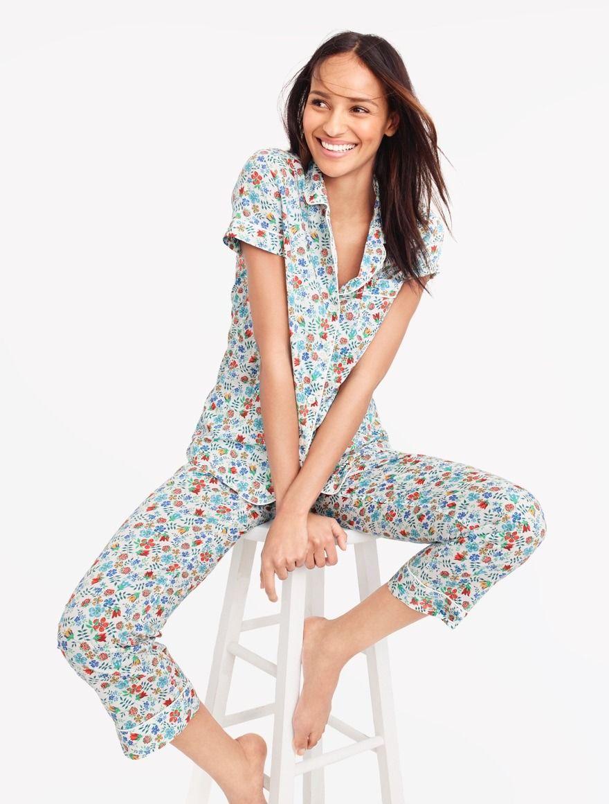 89899e48c5d7 J.Crew Looks We Love  women s short-sleeve pajama set in Liberty® Art  Fabrics floral print.