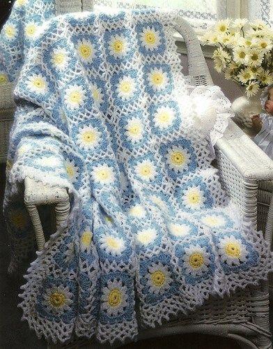 X445 Crochet Pattern Only Good Morning Daisy Flower Afghan Pattern