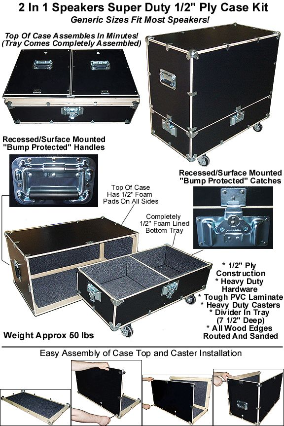 Our 2 In 1 Case Kit Super Duty Version Speaker Cases And Speaker Cabinet Cases Are Available In Heavy Duty Half Inch Plywood Construction Only Perfect When On