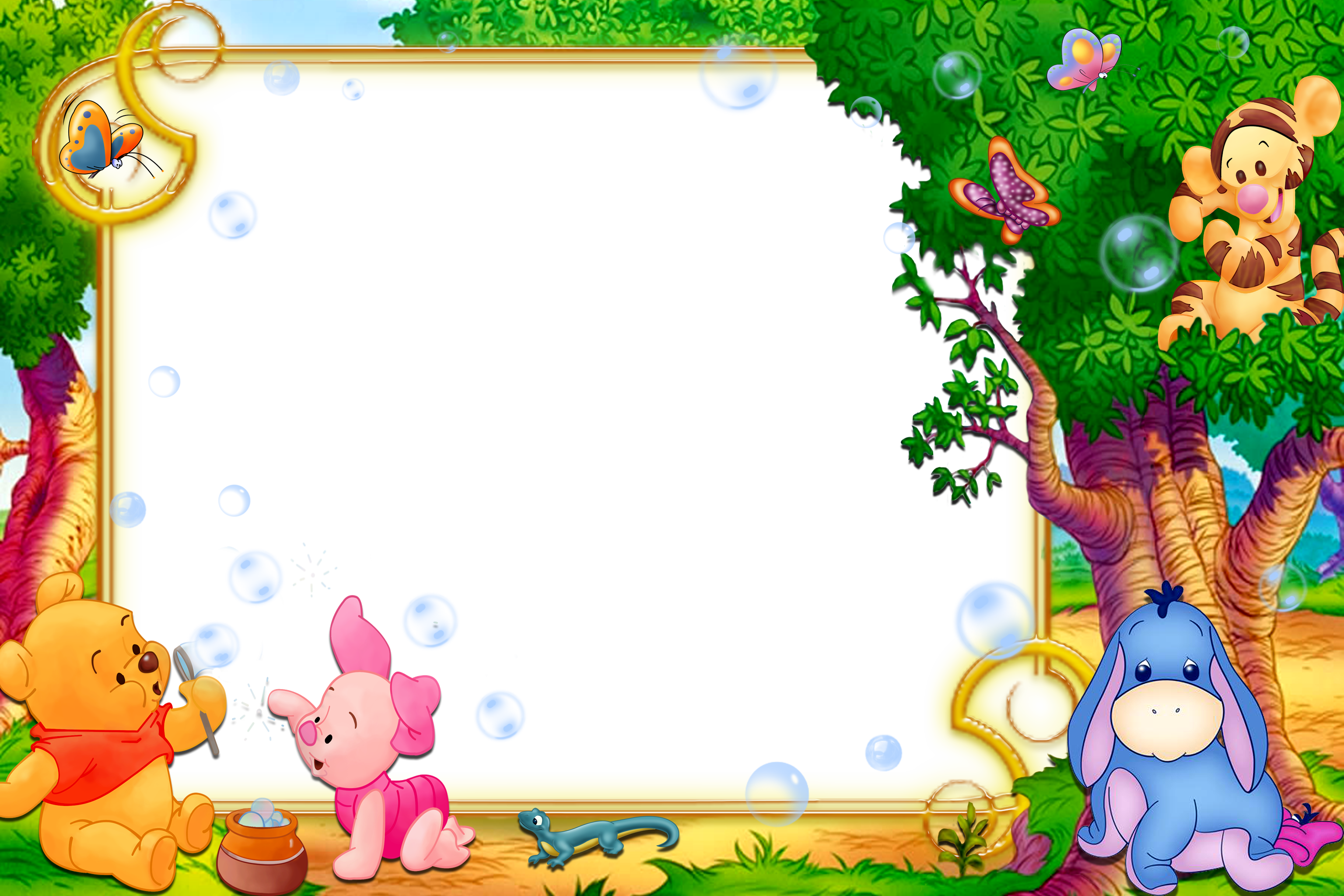 Kids Transparent Frame With Winnie The Pooh Winnie The Pooh Party