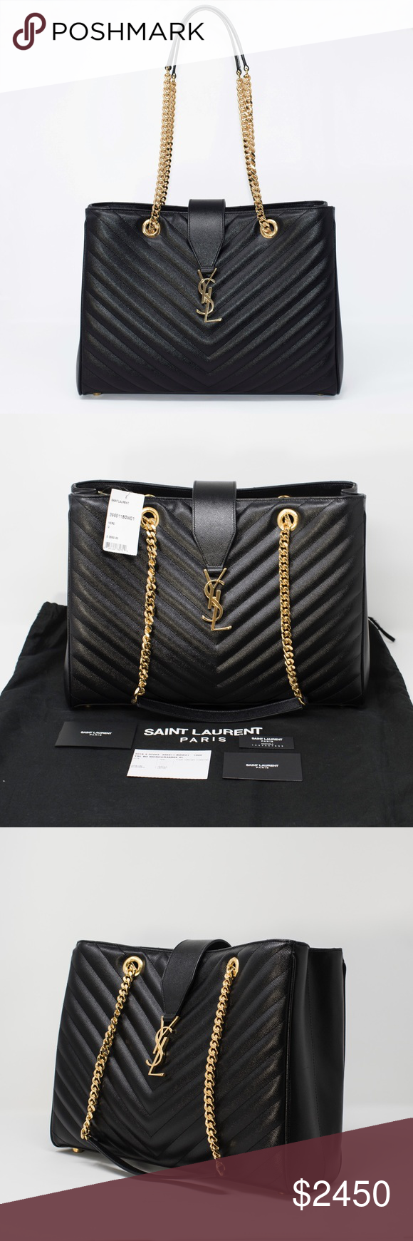 3d6a5084667 NEW YSL CHEVRON-QUILTED LEATHER SHOULDER BAG Authentic. Made in Italy.  Brand new