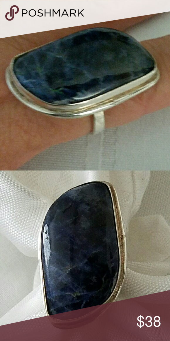 "SODALITE RING Sodalite 1.5"" Gemstone Sterling Silver ""Stamped 925"" Ring (Size 9) Jewelry Rings"