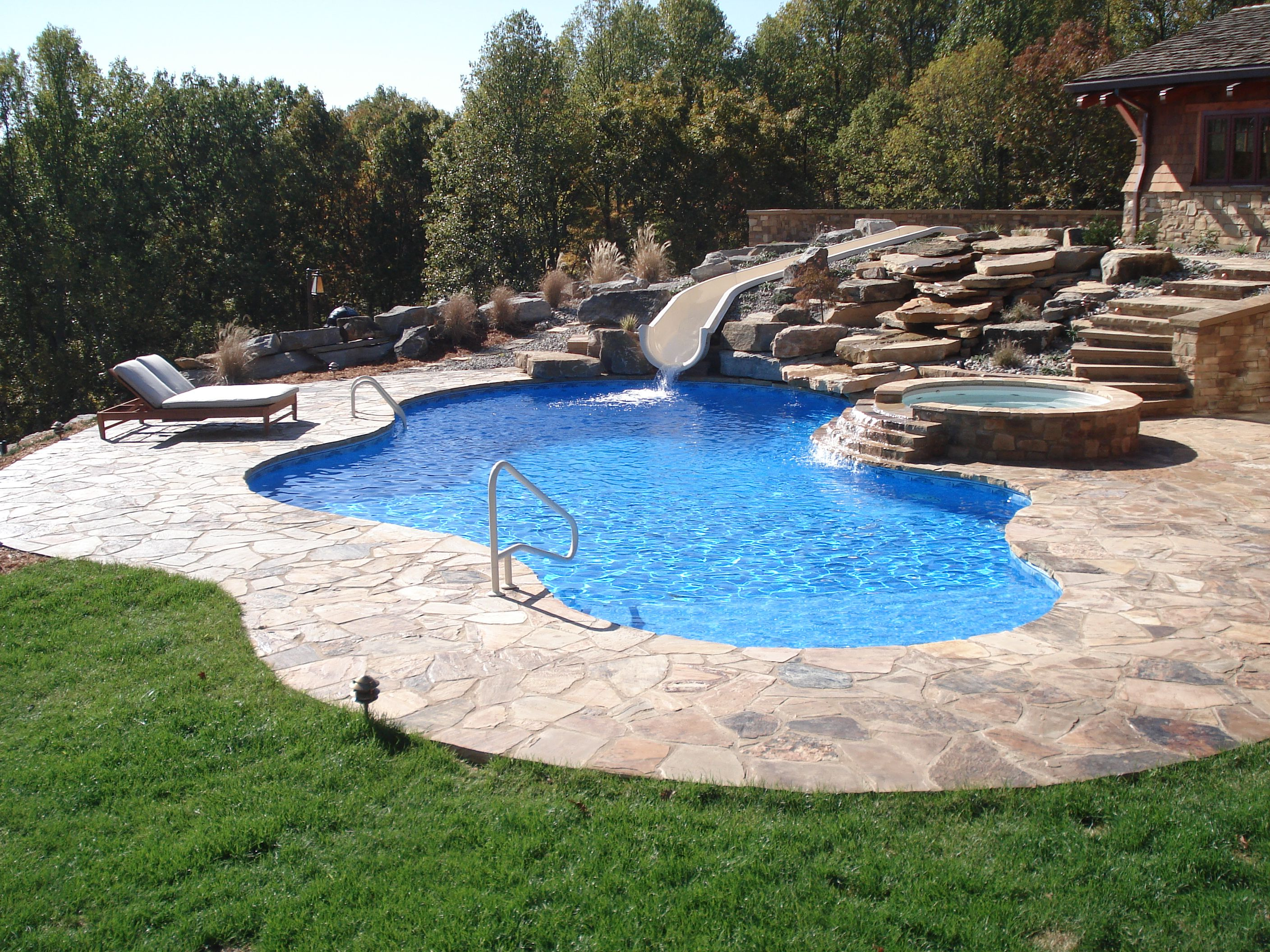 Tanning Ledge and Water Feature Pool Ideas Pinterest Water