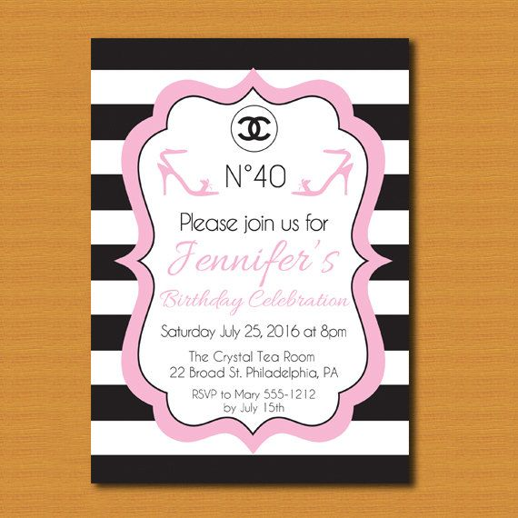 Sale Chanel Inspired Party Invitation Chanel Birthday Invitation