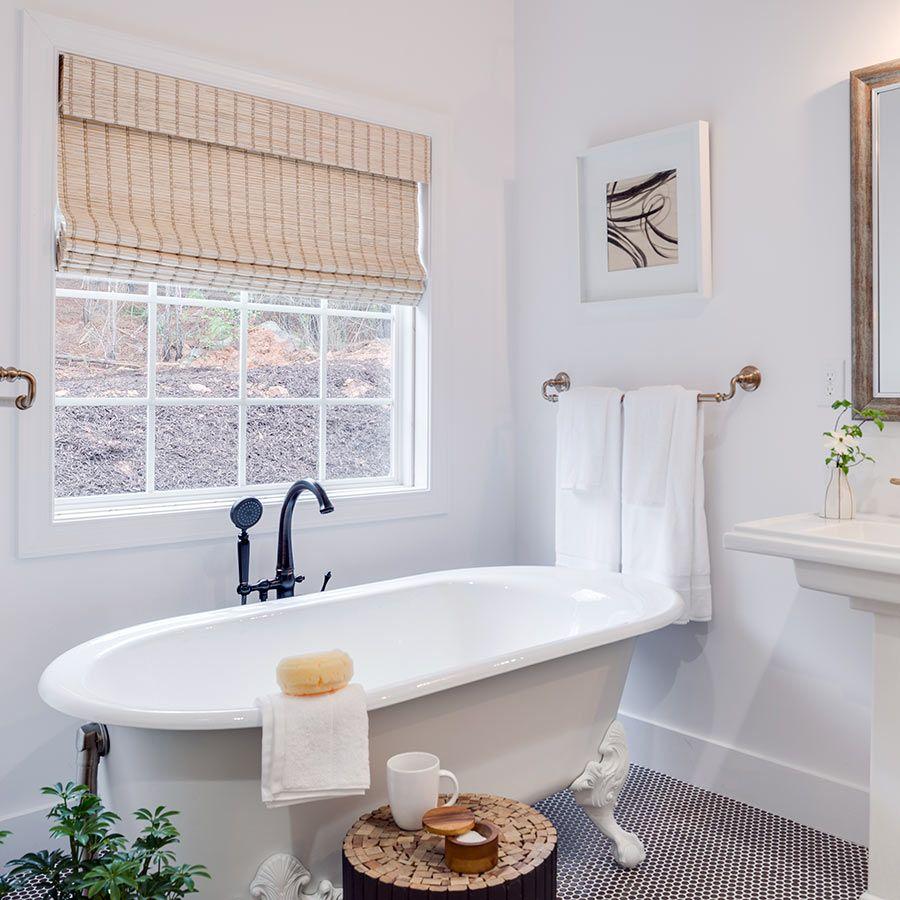Designer Series Woven Wood Shades Selectblinds Com White Bathroom Tiles Bathroom Window Treatments Bathroom Windows [ jpg ]