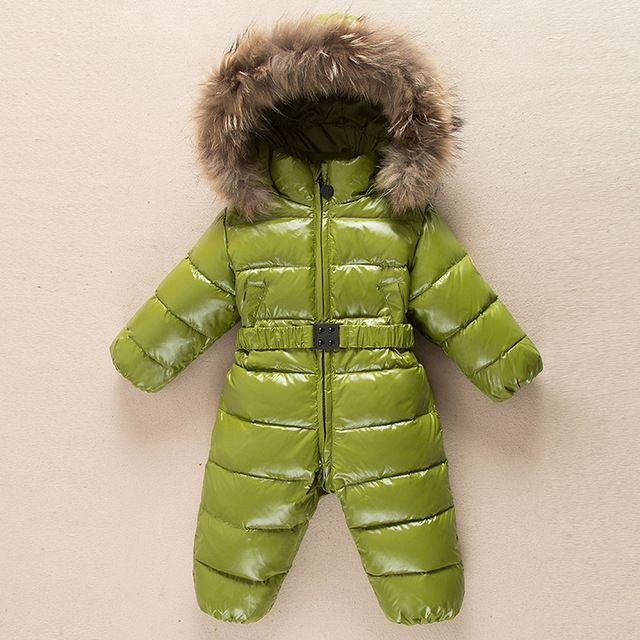 d28c9e6b65b0 Duck down Winter Baby Romper Fur hooded Girls boys snowsuit Children ...