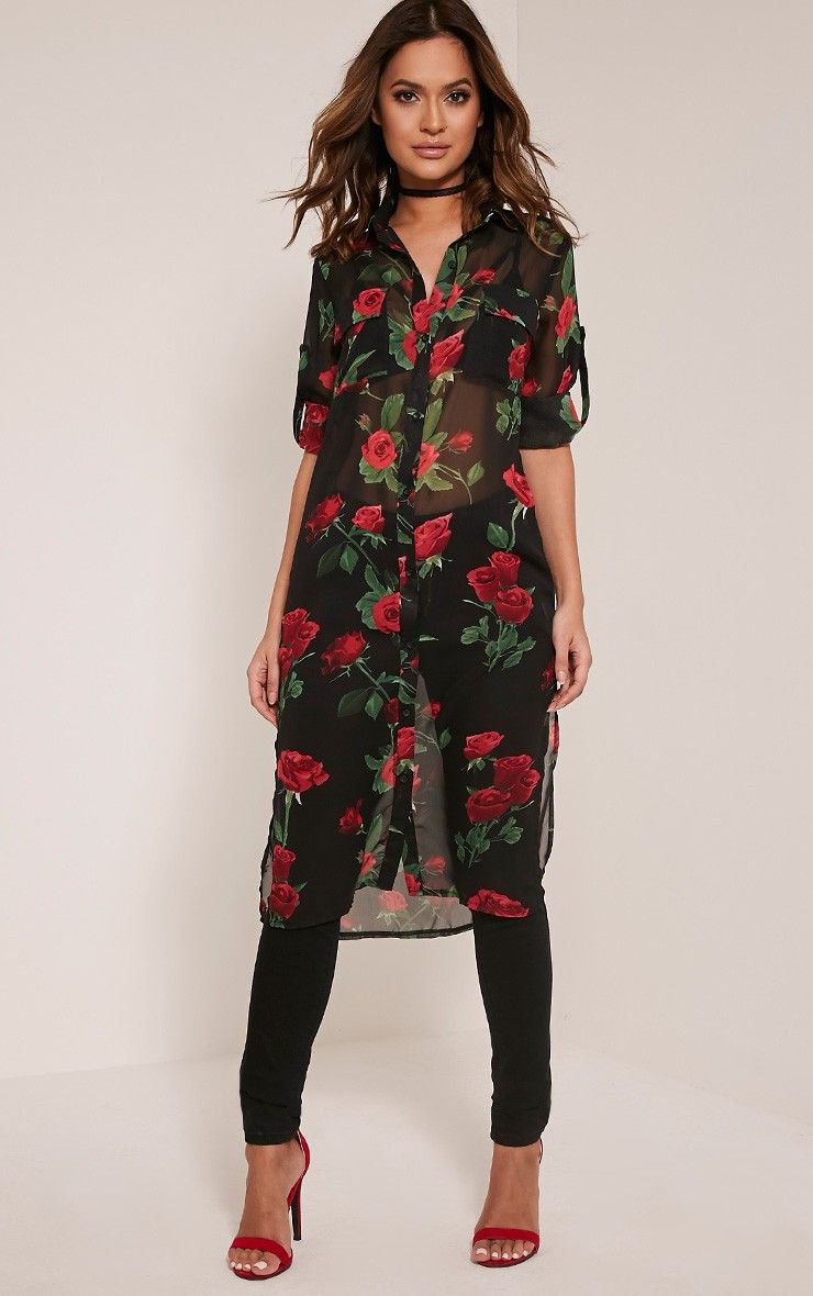 PRETTYLITTLETHING Rose Print Tie Front Blouse Discount New Styles Pay With Paypal Cheap Price Clean And Classic Dzg4f