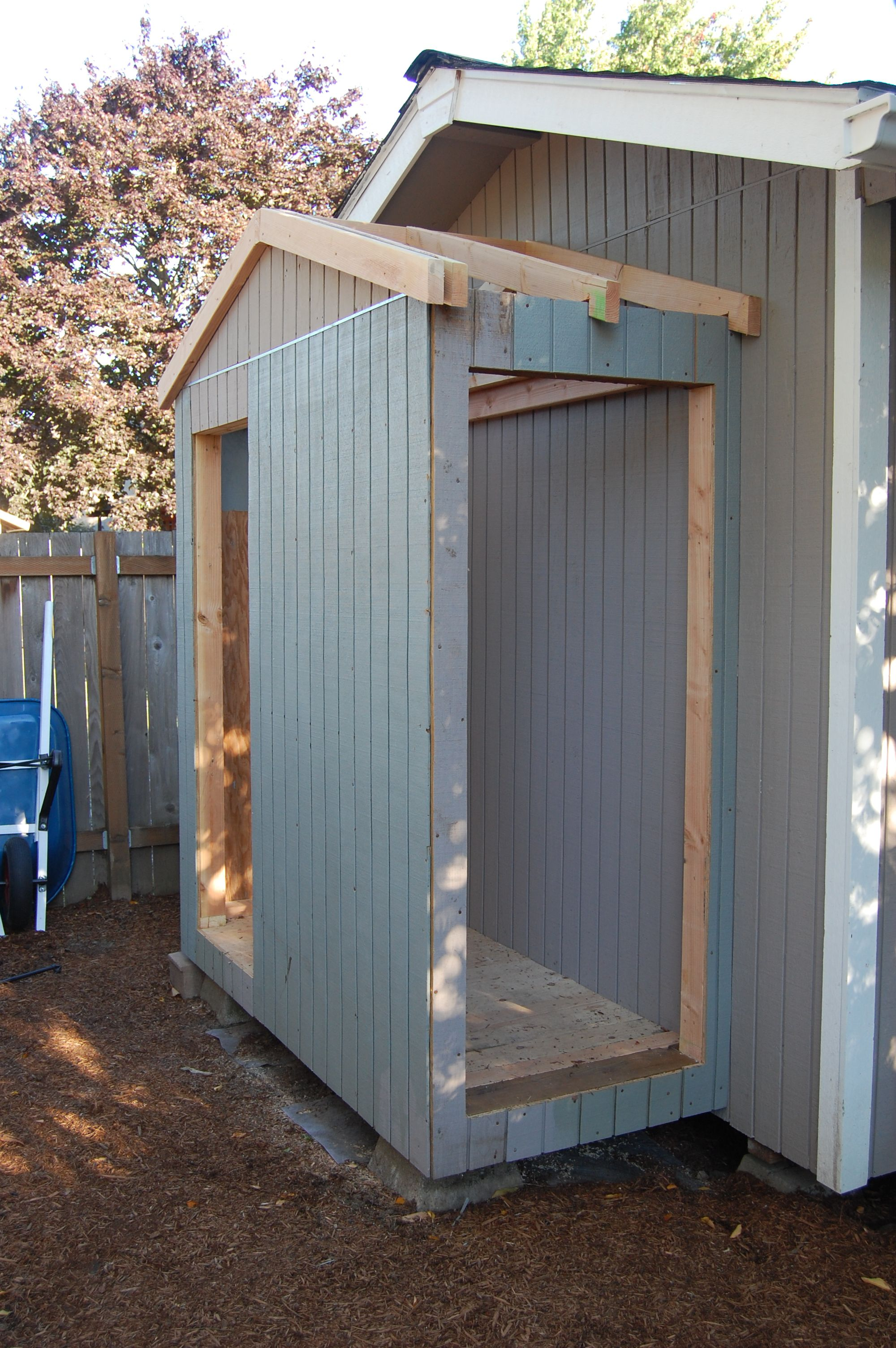 I Had To Add A Garage For My Lawn Mower Backyard Sheds Shed Storage Diy Shed Plans