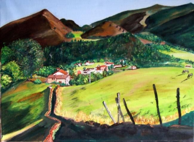 pays basque bidarray painting par jean parraud belle hst bidarray village typique du pays. Black Bedroom Furniture Sets. Home Design Ideas