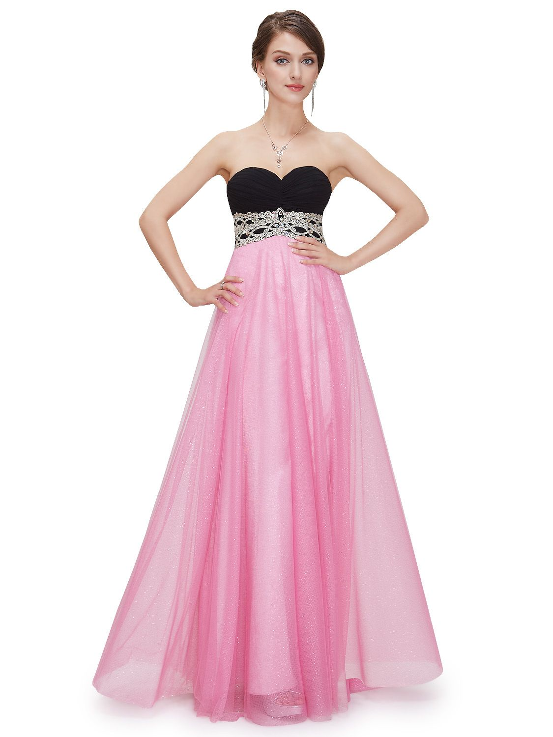 Strapless formal dress with a black sweetheart bodice