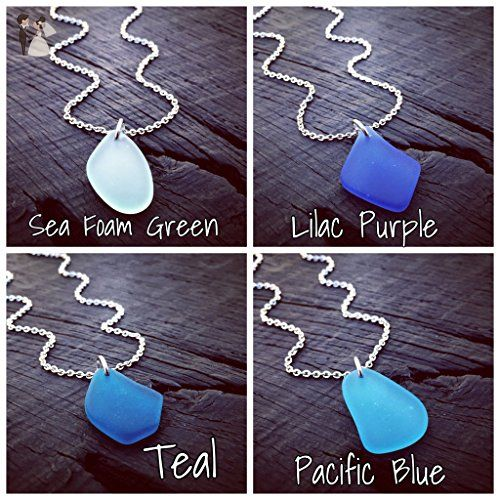 Sea Glass Charm Pendant Necklace - Pick Your Color | Sea Glass Jewelry | Sea Glass Lover Gift | Beach Lover Gift | Nautical Jewelry Gift - Wedding nacklaces (*Amazon Partner-Link)