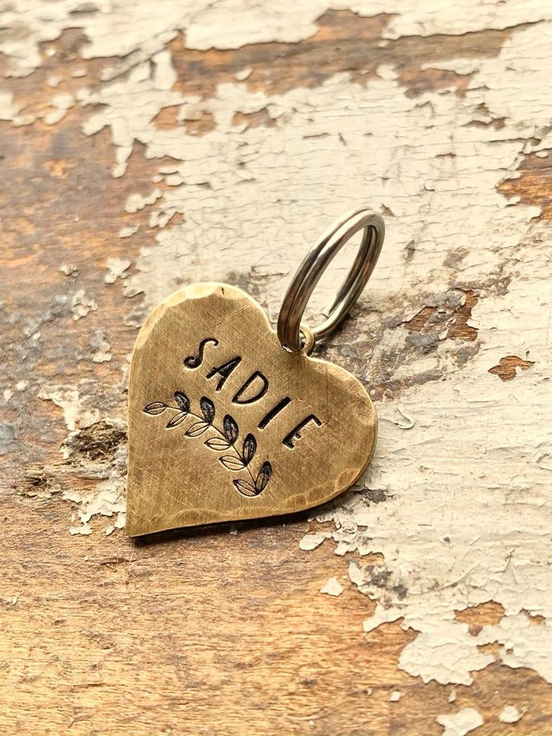 Cat ID Tag Small Small Pet ID Tag For Collar Brass Heart