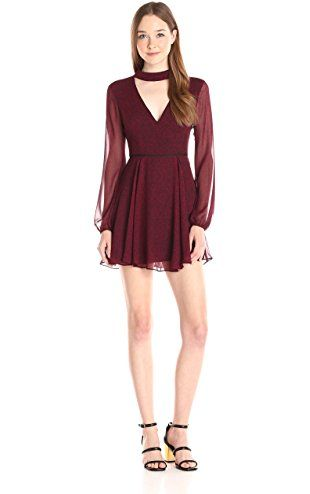 BCBGeneration Women's Low Cut Flare Dress, Wine Red Combo, 12 ❤ BCBGeneration Women's Dresses