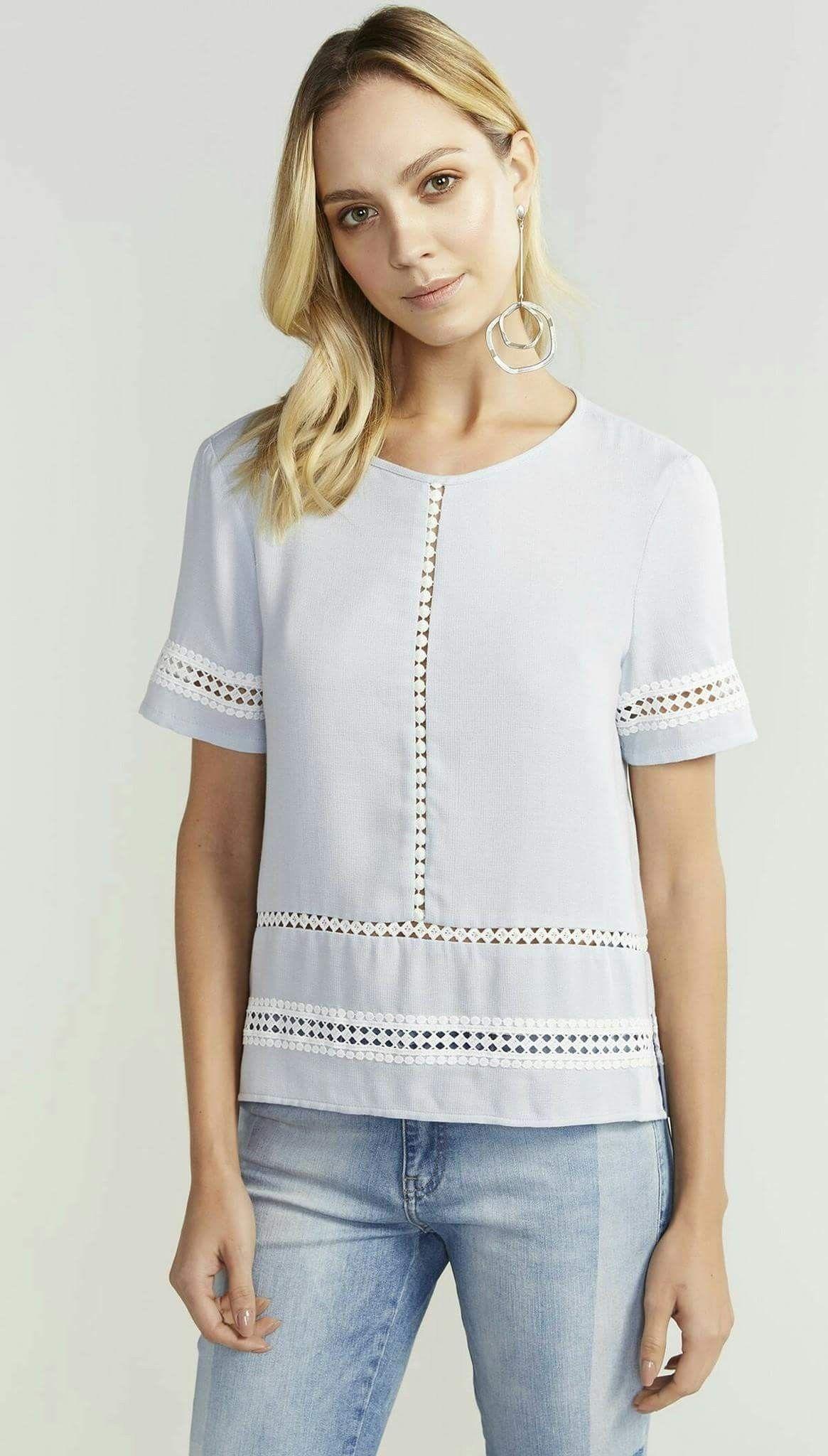 Pin De Lorena Aquino En Bata Blusas Bonitas Blusas Blusas Blancas
