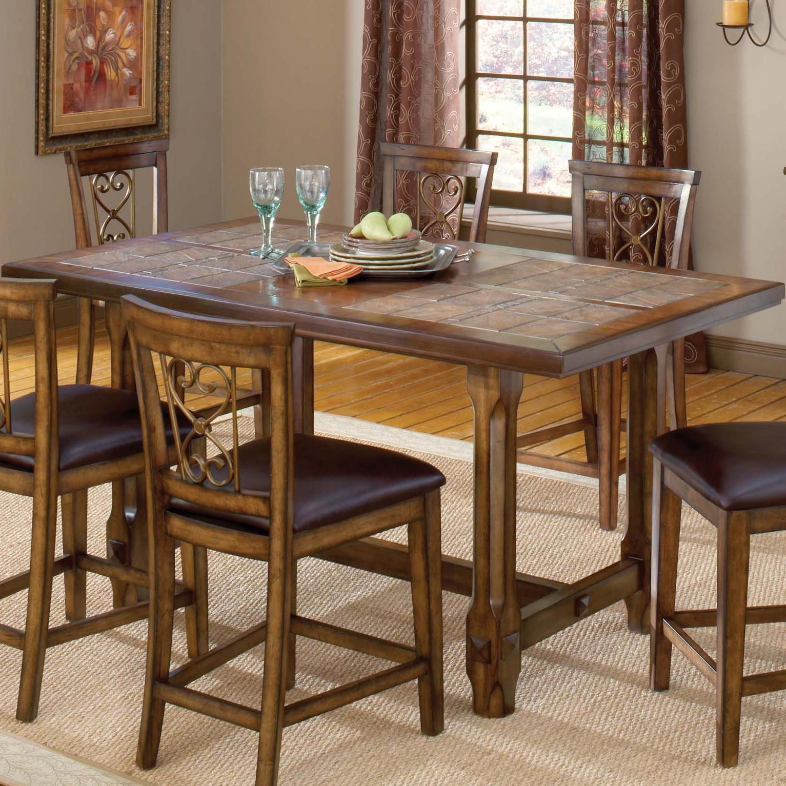 Villagio trestle counter height dining table by hillsdale for Height of dining room table