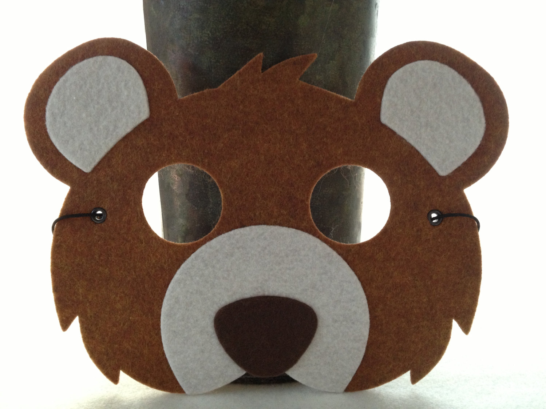 Kids Brown Bear Mask - Bear Costume - Animal Mask for Pretend Play ...