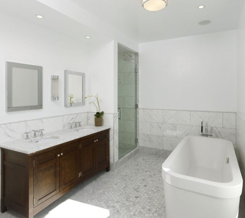 Carrera Marble Bathrooms Freestanding Tub Ceiling Lights Wooden